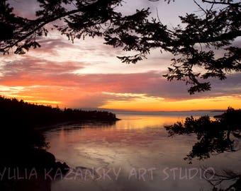 Instant digital download Sunset Over Deception Pass photography Fine art photography Digital print Printable art Red orange sunset photo