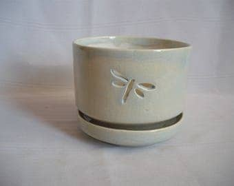 Medium Orchid Pot / Planter / With Dragonflies