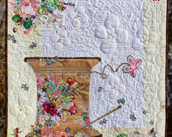 Collage PAPER Quilt Pattern THREAD SPOOL with Natural Pro-Touch Cork fabric for Wall Hanging Sewing Notion Studio Floral Rose Needle