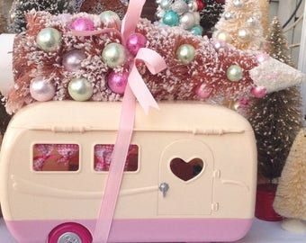 SALE Christmas pink camper RV with large pink decorated buttlebrush tree. Mantle decor. Holiday decoration. Christmas decor. Camping. Handma