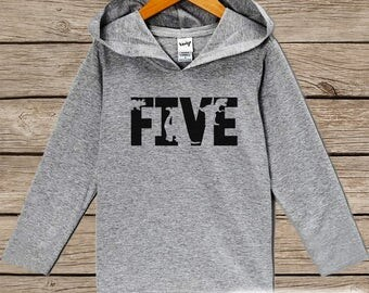 Boys Birthday Shirt - Five Dinosaur Birthday Shirt - Fifth Birthday Hoodie - Five Dino Birthday Pullover - 5th Birthday Dinosaur Shirt