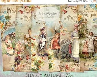 SALE 30% OFF - BOOKMARKS Shabby Autumn - Digital Collage Tags -Collage Tags - Hang Tags - Vintage Collage - gift Tags, scrapbooking, mix med