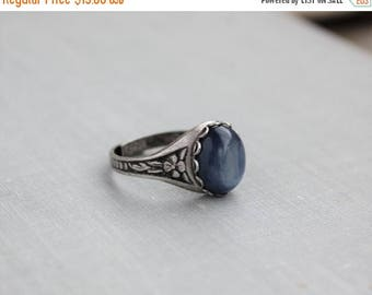 VACATION SALE- Kyanite Ring. Blue Kyanite. Antique Silver or Antique Brass