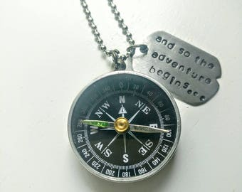 Compass necklace. Hand Stamped. And so the adventure begins. Dog tag. Aluminum. Stainless steel. Silver jewelry. Gifts for him. Gifts for he