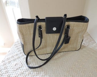 Small Coach Manufactured Straw and Leather Purse. Black Leather Trim on Natural Woven Coach Handbag. Lightweight Beige Coach Shoulder Bag.