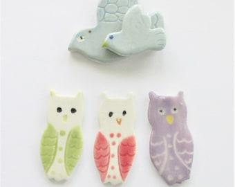 SECONDs:  Owl Blue Bird tiles, Jewelry Starters, Mosaic tiles, Ceramic Owl and Blue Bird Pendant, Necklace focal beads
