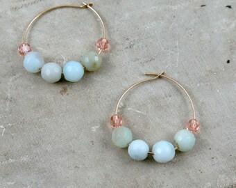 Amazonite Earrings, Gemstone Beaded Hoops, Gold Hoops, Amazonite Beaded, Gold Filled Hoops, Boho Earrings