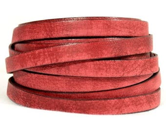 10mm Flat Vintage Leather - Red - 10FV-7 - Choose Your Length