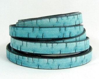 25% Off Bark Leather - 10mm Flat - Turquoise -10MB7 - Choose Your Length