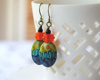 Abstract Earrings, Light Weight Dainty Earrings, Hand Painted Melamine Earrings, Colorful Earrings, Artisan Earrings, Unique Earrings