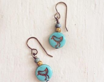 Little Bird Blue drop earrings // turquoise czech glass dangle // everyday wear // natural brass ear wires // handmade // earthy boho style