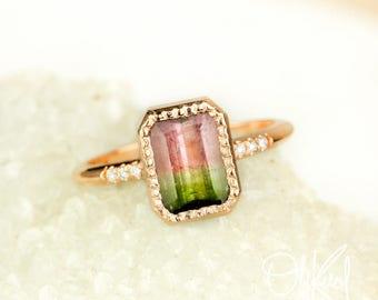 Rose Gold Watermelon Tourmaline Ring - Emerald Cut Tourmaline - Pave Diamonds- Statement Ring