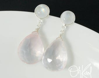 Silver Rainbow Moonstone & Pink Rose Quartz Teardrop Earrings - Pale Pink Earrings