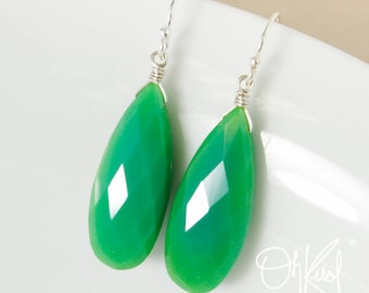 Green Chrysoprase Teardrop Earrings - Wire Wrapped Earrings - Chrysoprase Jewelry