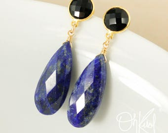 Black Onyx & Blue Lapis Teardrop Earrings - Black and Blue - Lapis Jewelry