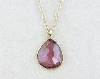 ON SALE Dark, Pink Tourmaline Necklace - Tourmaline Pendants - 14K Gf