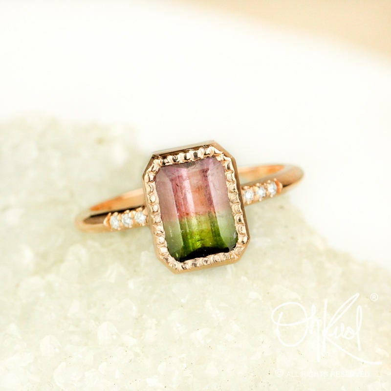 gold watermelon tourmaline ring emerald cut tourmaline