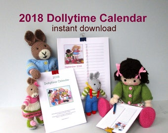 2018 Printable DOLLYTIME Calendar - 3 sizes - A4, A5, A6 - Monthly planner - Doll calendar - PDF Instant download