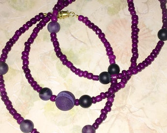 Purple Agate Beaded Anklet Ultra Violet Small Beads