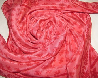 Vintage Square Silk Scarf - Bright Pink Background, Abstract Repeating Pattern In Red - Hand Rolled Hem