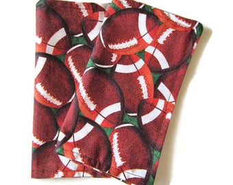Kids Cloth Napkins, Reversible Cotton Napkins, Set of 2, Lunchbox Napkins, Eco Friendly, Washable, Double Sided, 2 Ply, Football Print