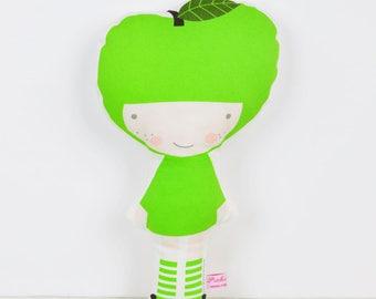 Apple cloth doll in bright green