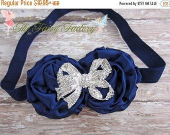 Navy Blue Flower Headband, Satin Rosette Duo w/ Rhinestone Bow Navy Headband, Flower Girl Wedding, Infant Baby Toddler Child Girls Headband