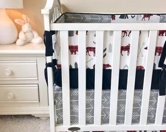Moose Baby Bedding, Grey Arrow, Teepee, Crib Sets, Crib Bedding, Boy's Baby Bedding, Crib Bedding Sets, Crib Bedding for Boy, Baby Boy Crib