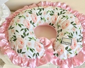 Blush Floral Nursing Pillow Cover, Green Leaves and Blush Floral Boppy Cover, Nursing Pillow Cover, Personalize your Boppy Cover