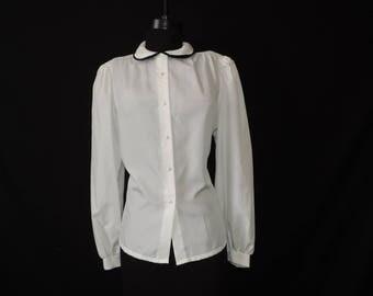 white dress blouse vintage 80s secretary career chic button down black collar top XL