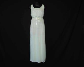 lace lime nightgown vintage 60s lacy nylon boudoir gown nylon slip dress medium