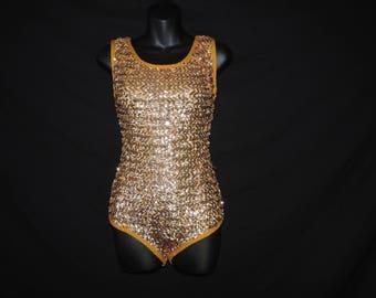 1960s gold sequin costume leotard dance burlesque shimmery metallic one piece small