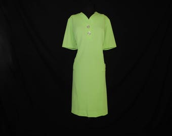 60s lime mod dress vintage shift green big button tunic dress plus size 1X