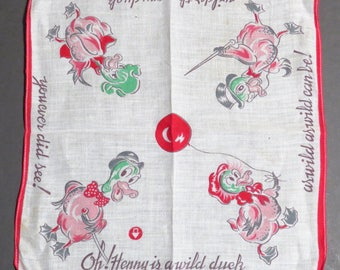 Oh Henry Duck Childs Hanky Vintage 1950s Comic Hankie Kids Handkerchief - FREE Domestic Shipping