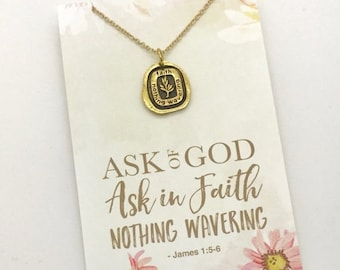 ON SALE 2017 youth theme, LDS Mutual theme, Faith Nothing wavering charm or Necklace, Lds Young Women's jewelry, gold or silver, Yw girls ca