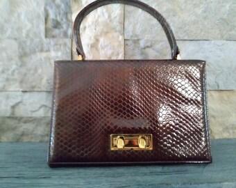 1960s Faux Alligator Skin Boxy Handbag Kelly Bag