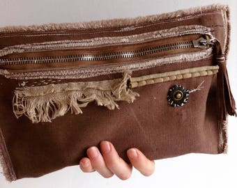 Brown Canvas Pouch smartphone case, Ethically Made