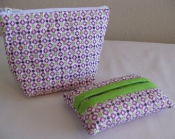 Purple with Green Quilted Pouch Set