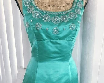 40% OFF Christmas in July Drop Dead Gorgeous Vintage Jade Green Silk and Beaded Rhinestone Gown -- 1950's 1960's Size S-M