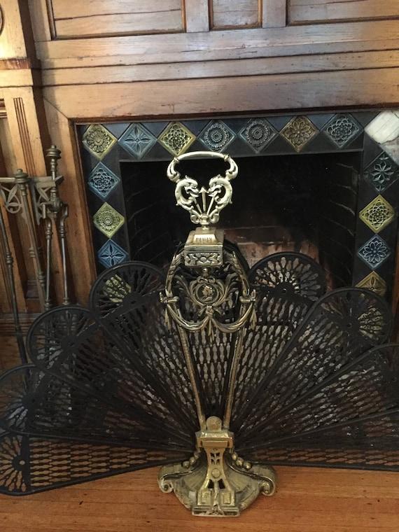 Brass Fireplace Screen Peacock Fan Shape With Decorative