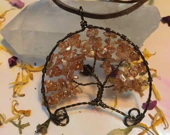 Half moon tree of life necklace handmade tree of life pendant