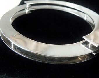 "Rare OIMOTNAZ Italy Sterling Silver 925 Handcuff Brutalist MODERNIST Bangle Bracelet 8.25"" Mens Womens Jewelry"