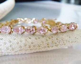 "14Kt Yellow Gold Over Sterling Silver 925 14ct Sim Kunzite Gemstone Pear Cut Tennis Line Bracelet 7"""