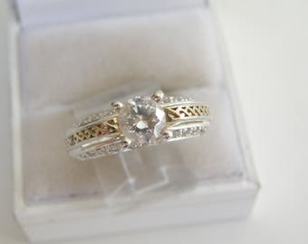 Estate Sterling Silver 925 Diamonique Simulated Diamond High Setting Engagement Promise Ring Size 9