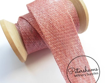 3cm Sinamay Bias Binding Tape Strip (1.6m/1.7yards) for Millinery & Hat Making - Dusky Pink
