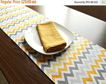 Christmas in July Sale Gray Chevron Table Runner Yellow White Circles Reversible Buffet Table Decor