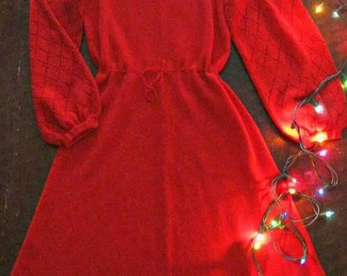 WINTER SALE Vintage 60s red sweater dress / pointelle red bell sleeve 60s knit dress / Boho Hippie sweetheart dress