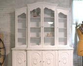 Painted Cottage Chic Shabby White Romantic French China Cabinet CC1003