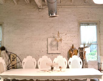 Dining Table Painted Cottage Chic Shabby White French Dining Table TBL216