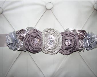Women child baby satin Rhinestone flowers wedding dress flower girl comunion birthday baptism sash belt silver gray